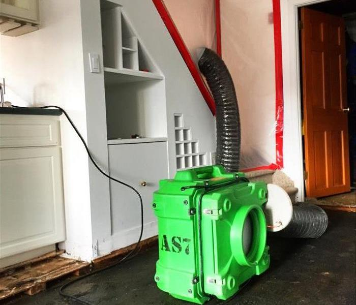 Water Damage Air Scrubber Installed in a flooded basement in Brookfield, CT